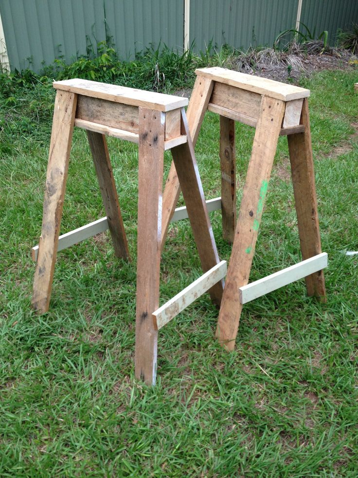 DIY Pallet furniture - I up cycled some old pallets into these pair of saw horses. I made them extra tall so that I wouldn't have to bend as much (saving my back) and thus allowing me to be creative for longer without muscle pain.