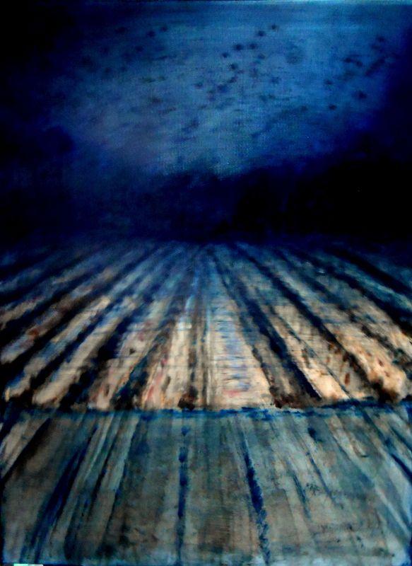 Acrílico sobre tela 80x60 by Isabel Amaral. É um dizer, poema de Eugénio de Andrade