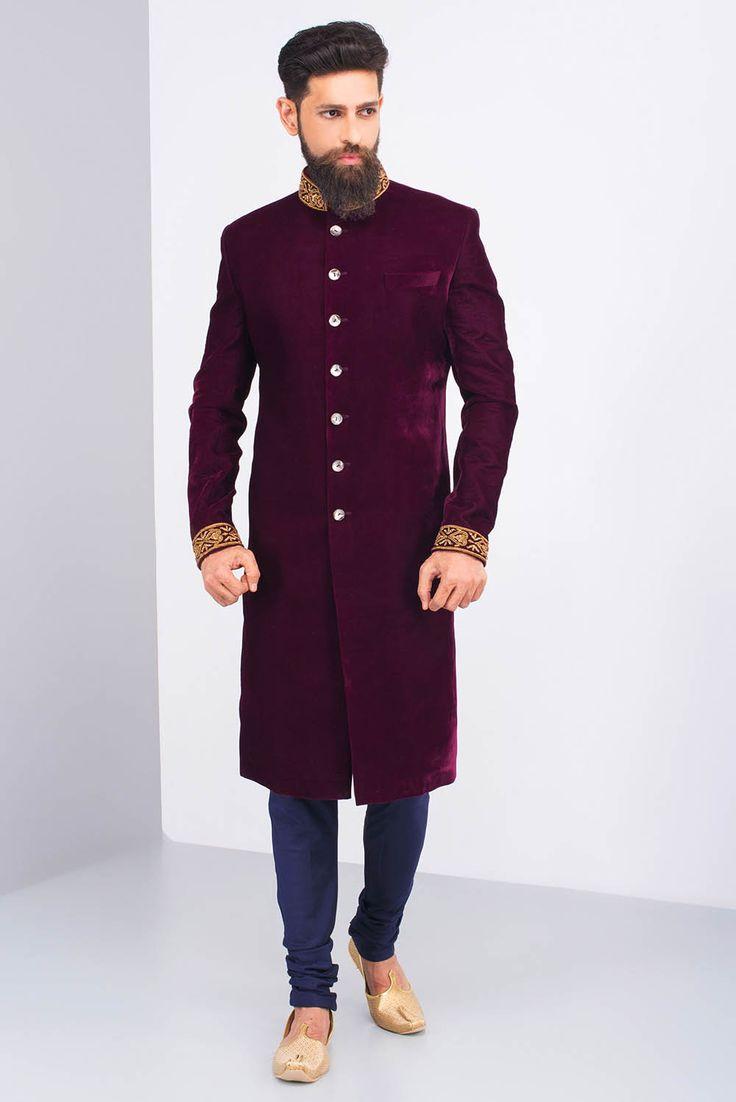 JIYA BY VEER marsala velvet embroidered sherwani #flyrobe #groom #groomwear #groomsherwani #sherwani#lightsherwani #flyrobe #wedding #designersherwani