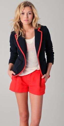 rag & bone: Preppy Style, Messy Hair, Navy Blazers, Cute Shorts Outfit, Bones Bromley, Shorts Style, Rag And Bones, Cute Outfit, Bromley Blazers
