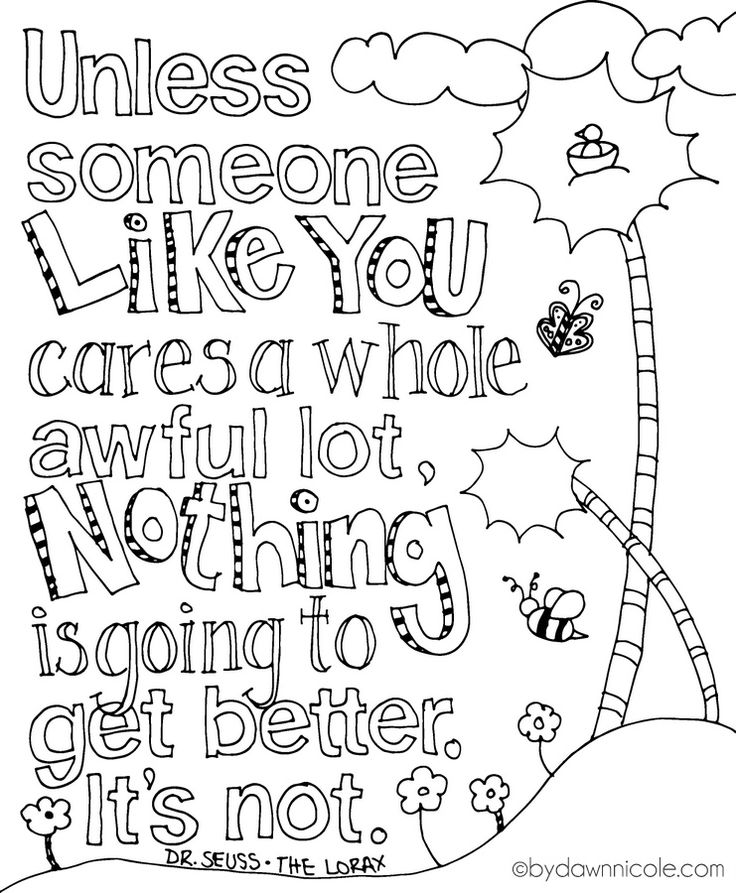 The Lorax Inspired Earth Day Coloring Page Quote PagesDr Seuss