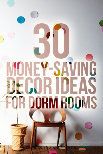 Love these ideas for the home!  30 dorm room decor ideas - cheap ones! Keep your college life and budget on track, lookin' stylish.
