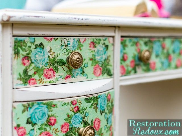 Vintage Decoupaged Desk - Restoration Redoux