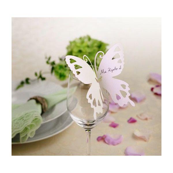 グラスカード(白い蝶)10枚セット>披露宴演出アイテム|結婚式グッズ専門店シェリーマリエ