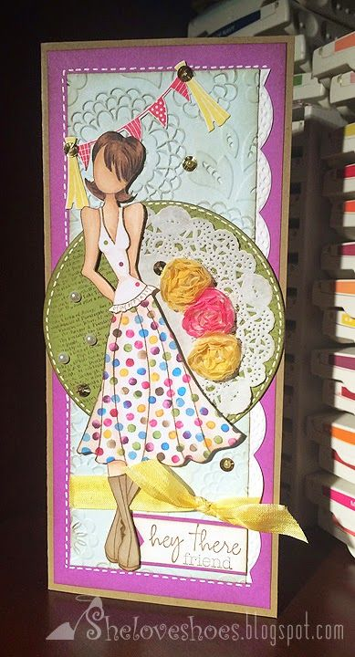 "I used one of the Julie Nutting Prima Doll Stamps. The overall size of the card is  4"" x 9 1/4"" which can easily fit in a #10 business envelope"