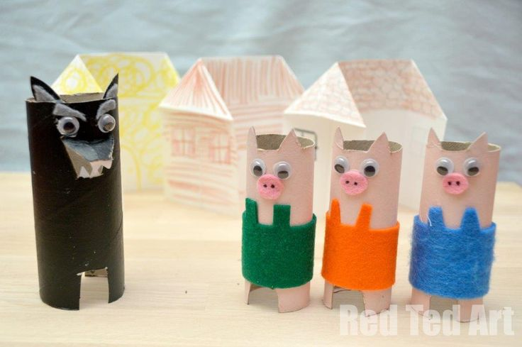 Three Little Pigs Toilet Paper Roll Craft for Kids.