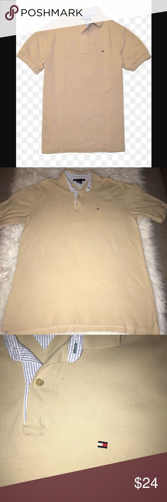 Tommy Hilfiger Beige Classic Polo Shirt Classically stylish. Neutral tan/beige shade with light blue and white interior striped accents. Excellent quality and condition. Check out my other listings to bundle and save! Tommy Hilfiger Shirts Polos