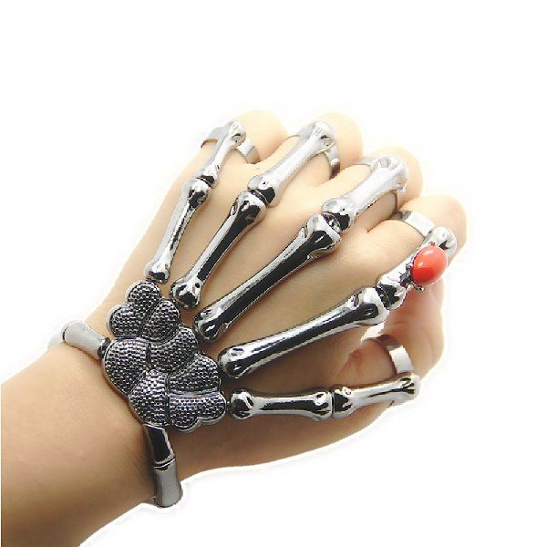JoJo & Lin Silver Gun Black Skull Finger Hand Bond Bracelet Goth Skeleton Bones Bangle (Gun Black)