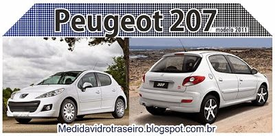 Medida Vidro Traseiro: Peugeot 207 2011: Medida Vidro Traseiro (Adesivo P...