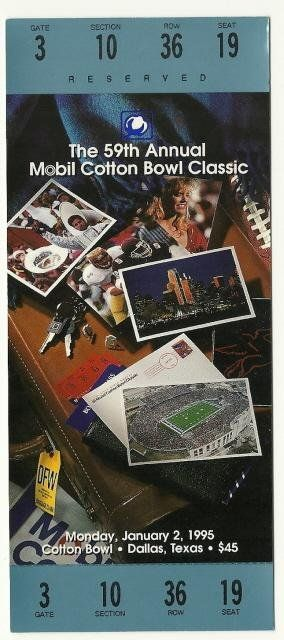 1995 Cotton Bowl Game Full Ticket USC Texas Tech....if you like this you can find many more college bowl game tickets for sale at www.everythingcollectibles.biz