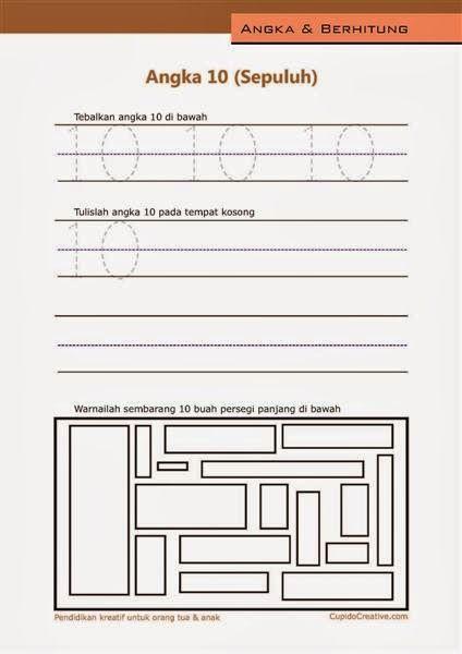 belajar angka paud (anak balita/TK), menulis 1-10, angka 10