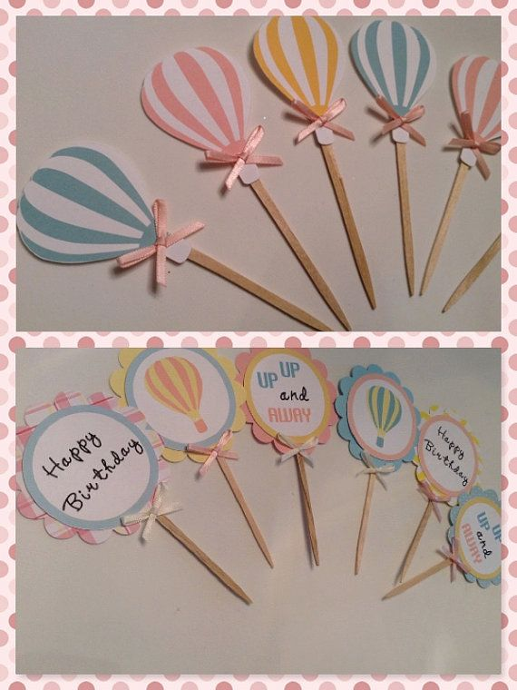 Hot Air balloon cupcake toppers food picks party picks party decor