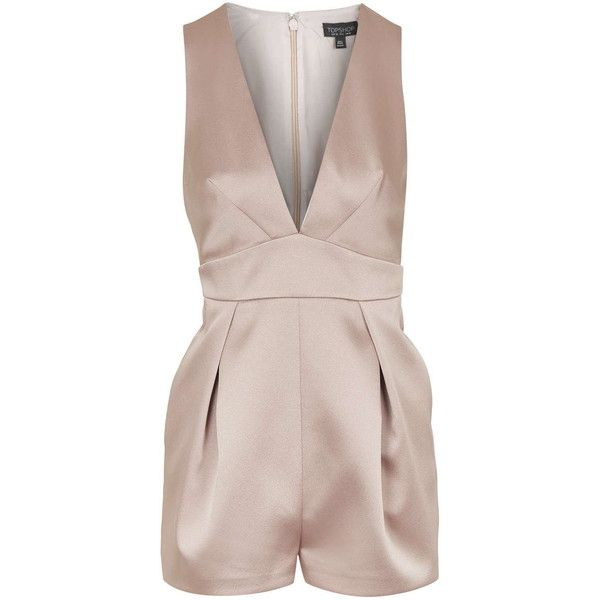 TOPSHOP Satin Plunge Playsuit ($85) ❤ liked on Polyvore featuring jumpsuits, rompers, pink, fitted romper, playsuit romper, satin romper, pink romper and topshop