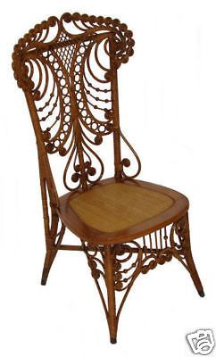Charming Antique Fancy Victorian Wicker Chair ~ Natural Finish