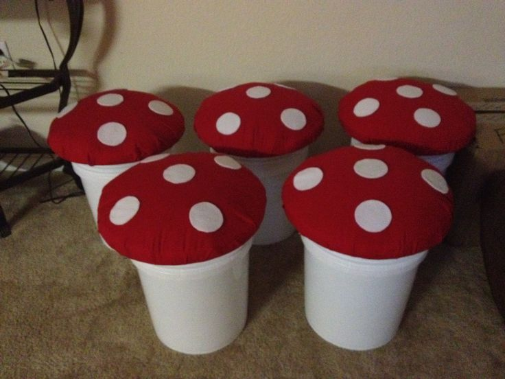 Mushroom seats for a Smurf themed classroom.