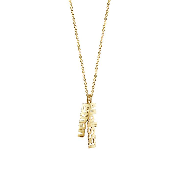 14k Gold Vermeil 2 Name Charm Necklace