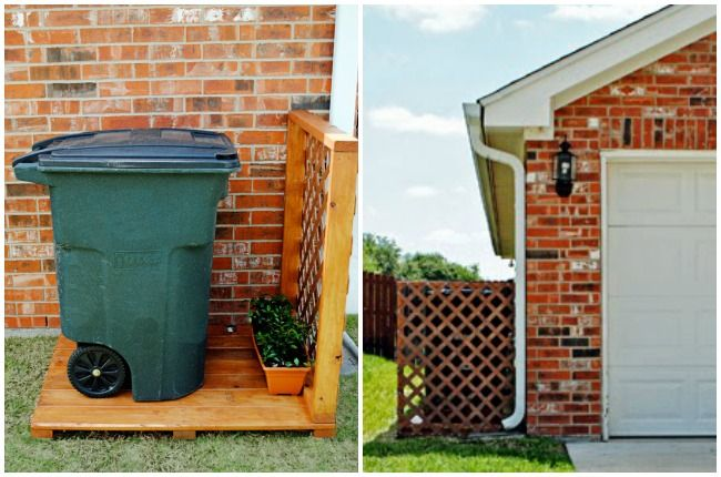 Parked behind a rustic trellis, this mammoth trash can no longer uglies-up an otherwise pristine exterior.