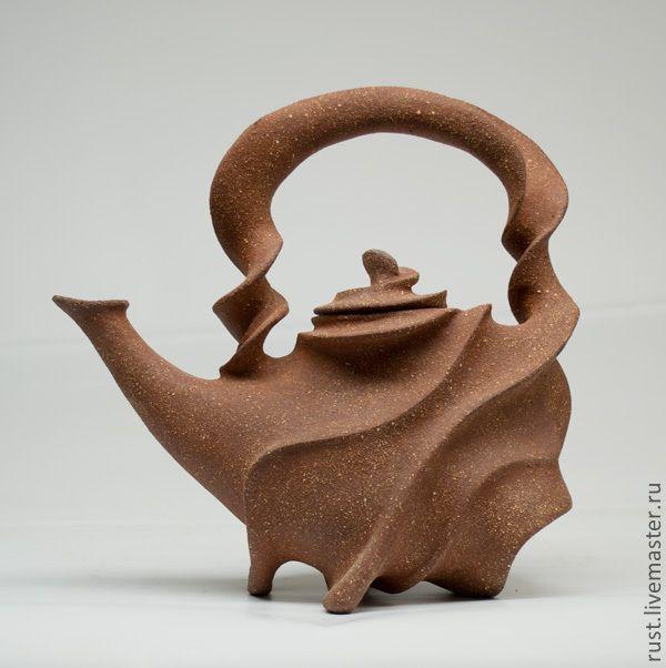 """Купить Чайник """"Тайфун"""" - чайник, керамика ручной работы, шамотная глина, ручная авторская работа"""