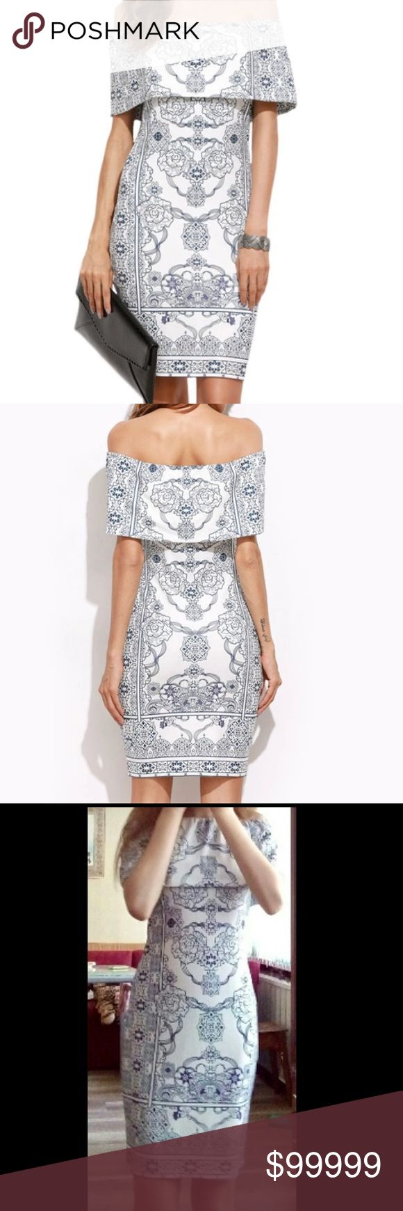 Coming soon Beautiful, form fitting, off the shoulder boho bodycon dress. Runs small (Please see measurements). Made of polyester and spandex so It'll help you flatten any belly imperfections and give you a feminine hourglass shape! Dresses Midi