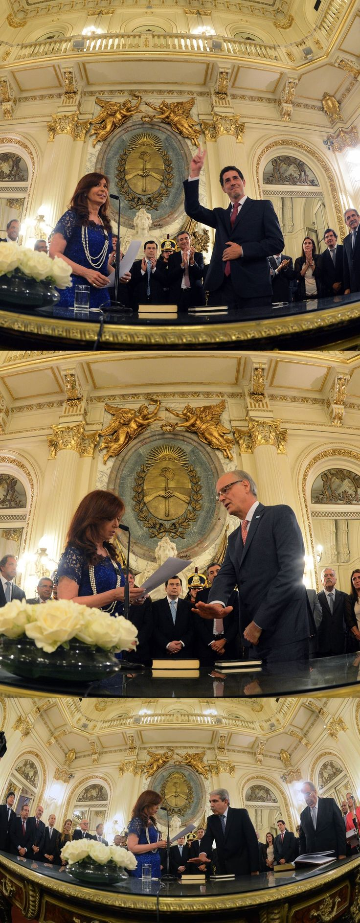 La presidenta Cristina Fernández de Kirchner toma juramento de asunción a Aníbal Fernandez como Jefe de Gabinete, a Eduardo de Pedro como Secretario General de la Presidencia, y a Daniel Gollán como Ministro de Salud.