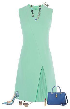 Greens & blues by julietajj on Polyvore featuring polyvore fashion style Karen Millen Dolce&Gabbana Kate Spade Swarovski clothing