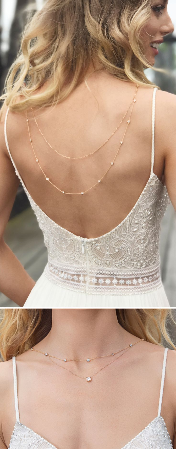 This enchanting back necklace is the perfect touch to your romantic bridal look