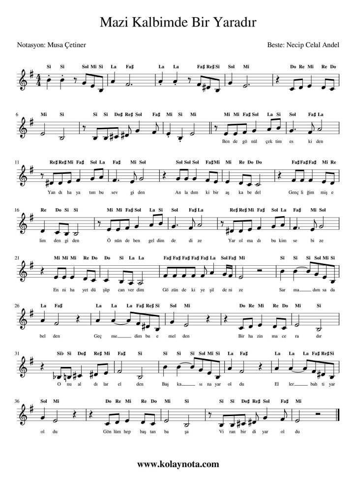 Mazi Kalbimde Bir Yaradir Kolay Notasi Kolaynota Com Nota Arsivi Kalp Muzik Notalari Muzik