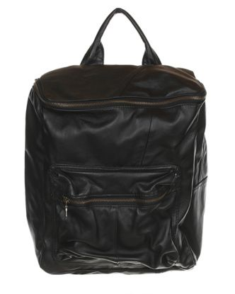 Rokit Recycled Black Leather Boxy Backpack