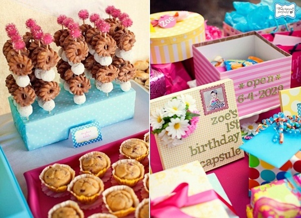 brunch food- cute party- love the idea of a first birthday capsule