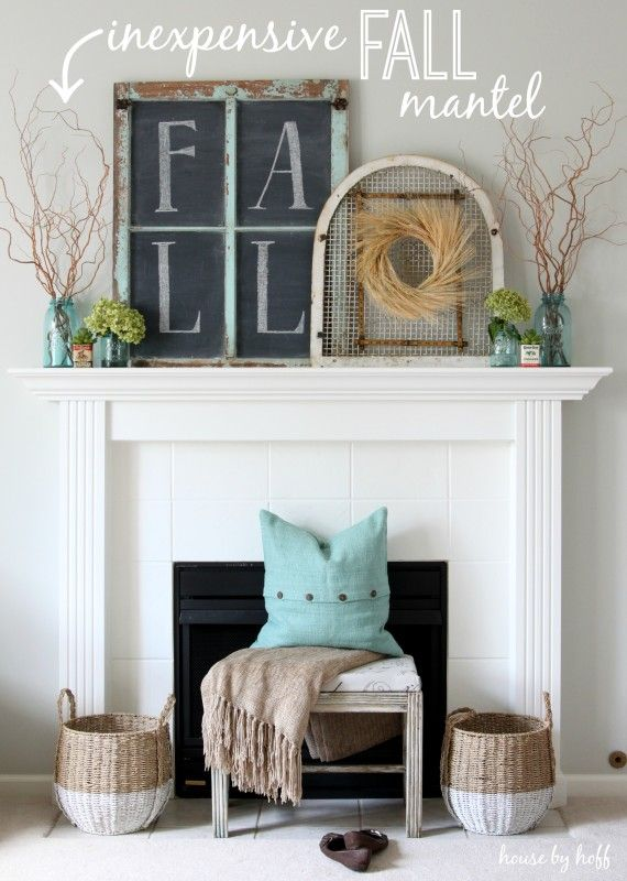 An Inexpensive Fall Mantel Using Vintage Garage Sale Finds!