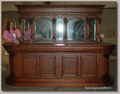 Antique Home Bar Font Back Walnut 10u0027 Saloon Furniture W Mirrors Pub  Vintage Sty |