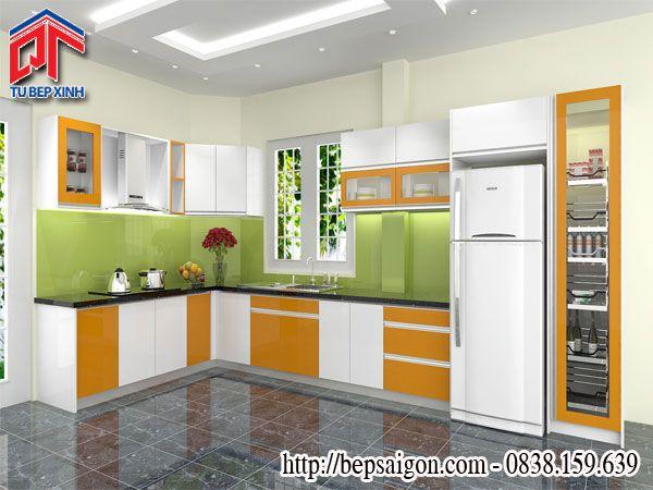 Tủ bếp Acrylic màu sắc trẻ trung, hiện đại TB41
