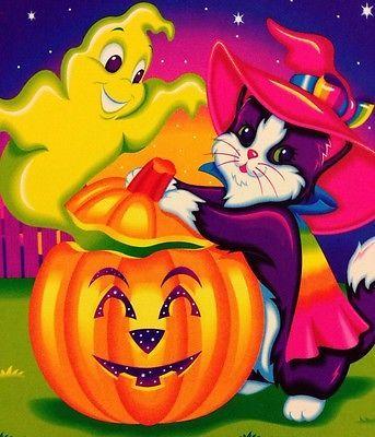Vintage Lisa Frank Invitation Card Halloween Magic Witch Cat Ghost Pumpkin