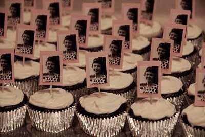 Mom's 70th Birthday Party - personalized cupcakes.