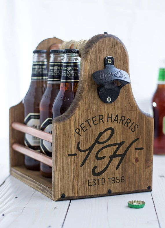 Beer Carrier Fathers Day Groomsman Best Man Gift by KnotJustBoxes