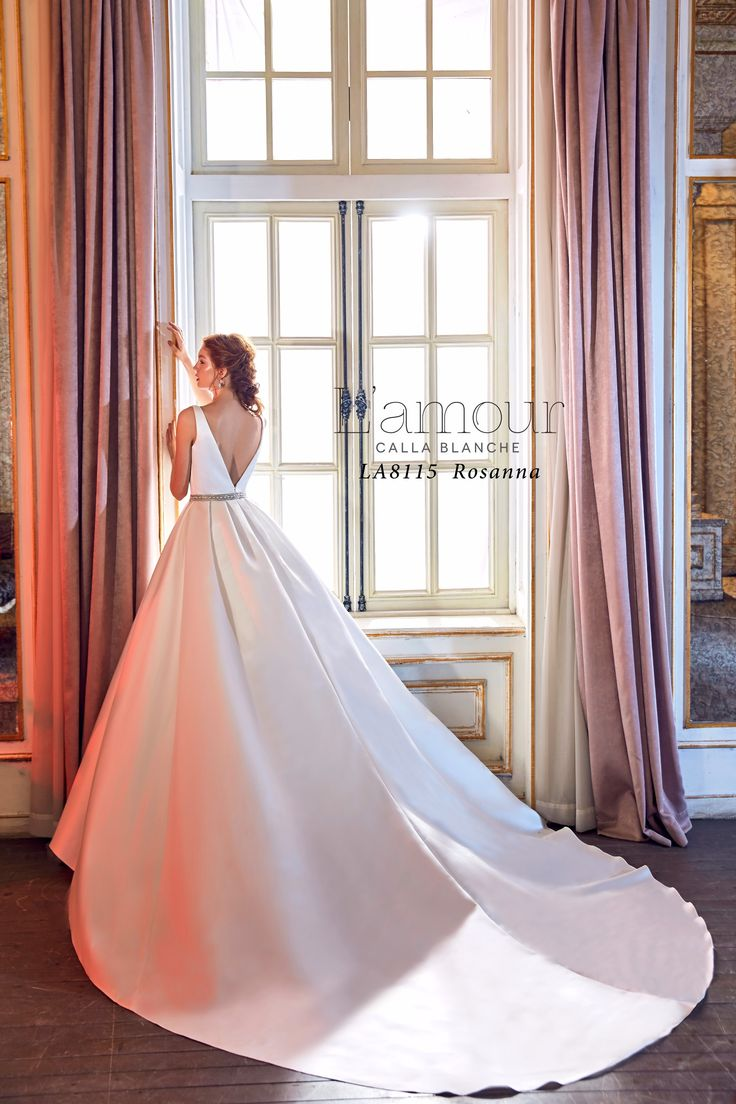LA8115 Rosanna Satin ball gown with deep v neckline and low v back and beaded waist band.  Accented with pockets.  #lamourbycallablanche #callablanche #beadedbelt #deepplunge #cathedraltrain #romantic #bride #ido #futuremrs #simple #elegant