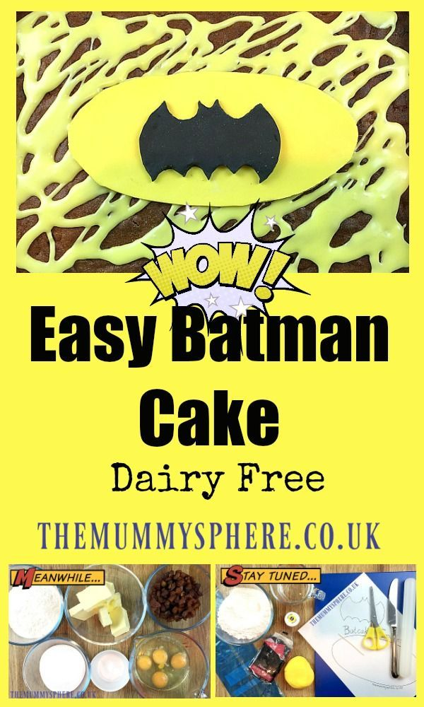 This is a really easy Batman cake that is simple to make, delicious to eat and Batman fans will love! It is also dairy free so if you are looking for a dairy free cake then try this one out.