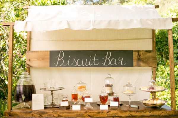 biscuit bar with different types of toppings || the perfect touch for a southern wedding.