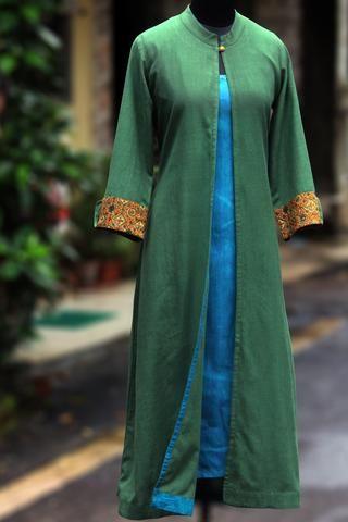khadi ensemble - olive leaf & aqua