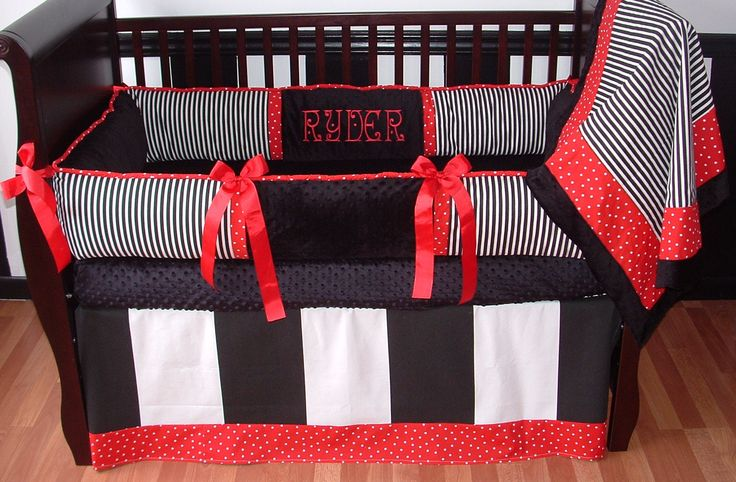 This Custom baby crib bedding set includes bumper pad, crib skirt, and blanket. The combination of black and white stripes, red and white polka dots, and ultra soft black minky makes this bedding the centerpiece of any nursery.  As an added bonus babies love the bold color contrasts and keeps them happy and safe in their cribs for years.