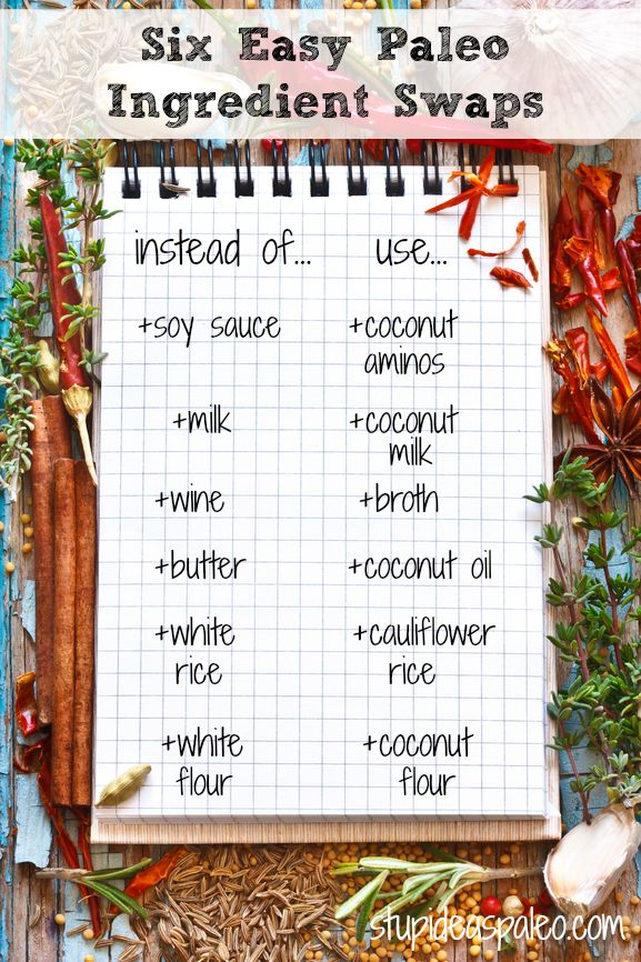 Six Easy Paleo Ingredient Swaps   Stupid Easy Paleo. Read more about them here --> http://stupideasypaleo.com/2013/12/12/6-easy-paleo-recipe-ingredient-swaps/ #paleo #realfood #cooking