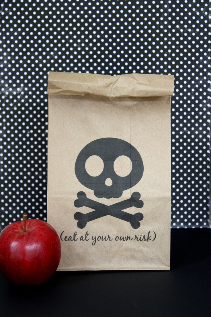 FREE printable halloween lunch bag {it is what it is} cute for a pirate party too!