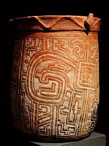 Cylindrical vessel. Marajo island, Brazil, Joanes style, Marajoara phase, 400–1000 CE Ceramics of indigenous peoples of the Americas - Wikipedia, the free encyclopedia