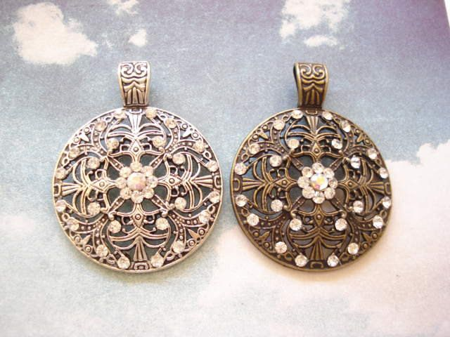 2 Filigree Big Antiqued Bronze /Silver Tone Charm Pendent with Rhinestones C336 (B701) by yooounique on Etsy