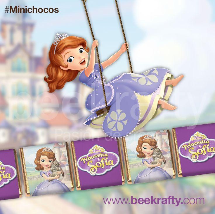 Chocolatinas personalizados de la Princesita Sofía para el cumpleaños de otra princesita. En www.beekrafty.com personalizamos los chocolates con lo que quieras. #chocolates #personalizados #beekrafty #pasionporcrear