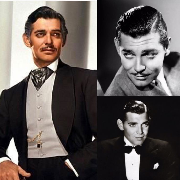 Throwback Thursday's - William Clark Gable.  One of the most famous American actors of all time, well known for playing Rhett Butler in the epic film, 'Gone with the Wind.' One of his style statements was the William Clark Gable hairstyle.  This look is back, including the pencil mustache. Today, men can use pomade to achieve a more touchable hold and a drier look without having to weight their hair down with heavy creams.