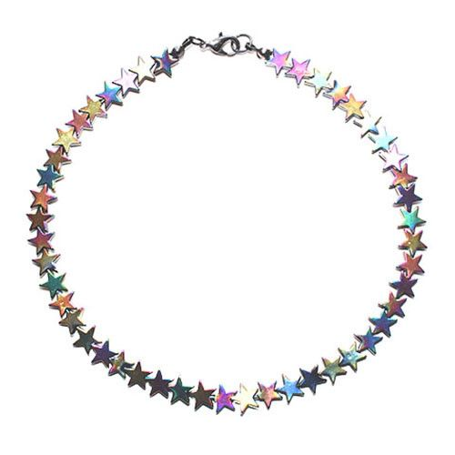 "Edgy multicolored Rainbow Hematite star beaded choker necklace, measures 15"". Arrives gift wrapped, ships from New York City. Handmade in New York City."