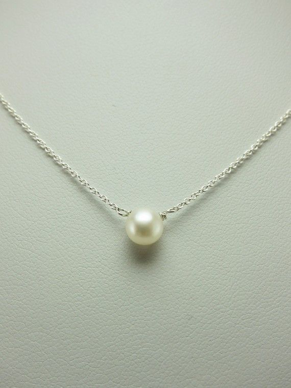 Simple Small Freshwater Pearl Silver Necklace by alexawebb This is the perfect necklace to wear everyday!