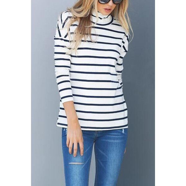 Yoins Sexy Hollow Polo Neck Stripe Pattern T-shirt (25 CAD) ❤ liked on Polyvore featuring tops, t-shirts, black, striped turtleneck, sexy tee, sexy tops, striped turtleneck top and turtleneck t shirt