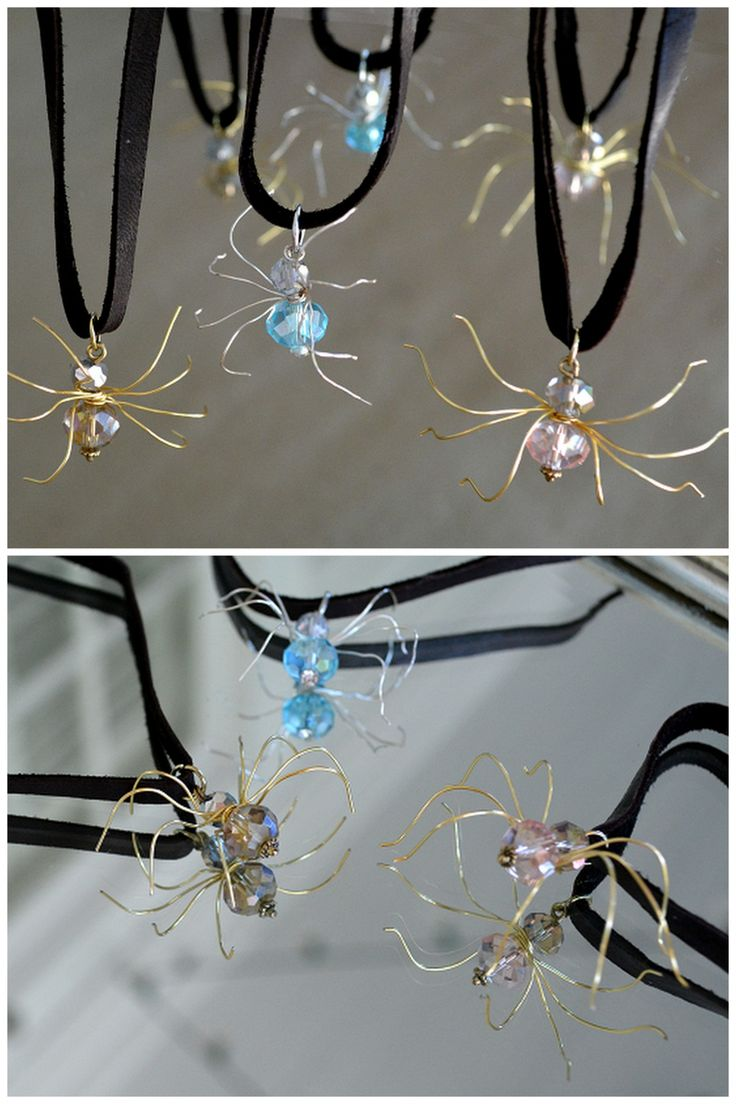 DIY Beaded SpiderMake these pretty spiders using just wire, headpins, and beads. For the ultimate Spider DIY archive, visit my Halloween blog spider tag here. Find the video tutorial for these DIY Crystal Beaded Spiders from Wobisobi here. Images are...